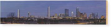 Moon Rise Over Austin Wood Print