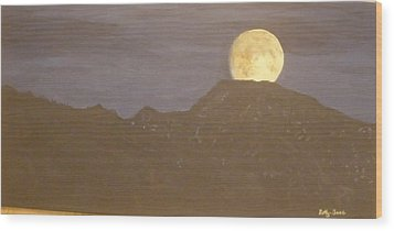 Wood Print featuring the painting Moon Rising by Betty-Anne McDonald
