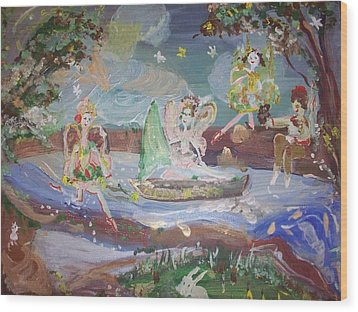 Moon River Fairies Wood Print by Judith Desrosiers