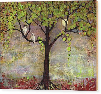 Moon River Tree Owls Art Wood Print