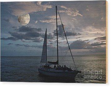 Moon Sail Wood Print by Digartz - Thom Williams