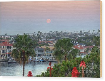 Wood Print featuring the photograph Full Moon Setting In Corona Del Mar by Eddie Yerkish