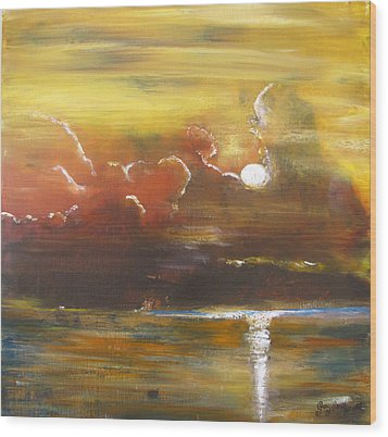 Wood Print featuring the painting Moon Shadows by Gary Smith