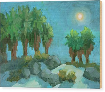 Wood Print featuring the painting Moon Shadows Indian Canyon by Diane McClary