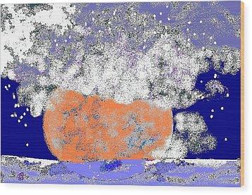 Moon Sinks Into Ocean Wood Print by Beebe  Barksdale-Bruner