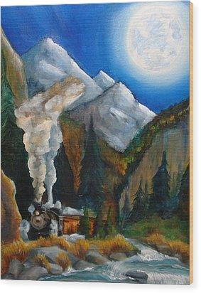 Moon Train  Wood Print by Andrea  Darlington