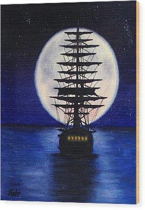 Moon Voyage Wood Print