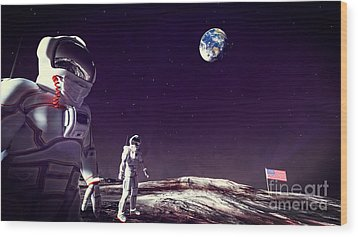 Wood Print featuring the digital art Moon Walk by Methune Hively
