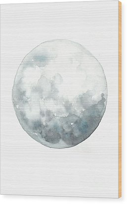 Moon Watercolor Art Print Painting Wood Print by Joanna Szmerdt