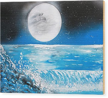 Wood Print featuring the painting Moon Wave by Greg Moores