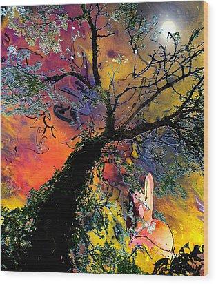 Moonbathing Wood Print by Miki De Goodaboom