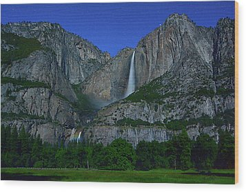Moonbow Yosemite Falls Wood Print