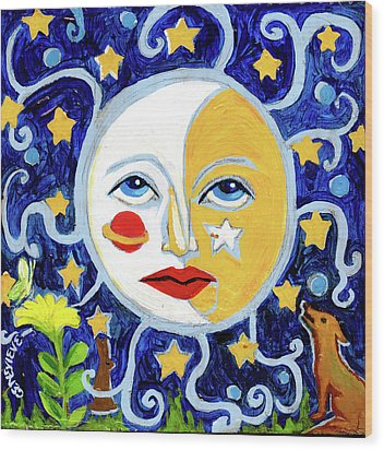 Wood Print featuring the painting Moonface With Wolf And Stars by Genevieve Esson