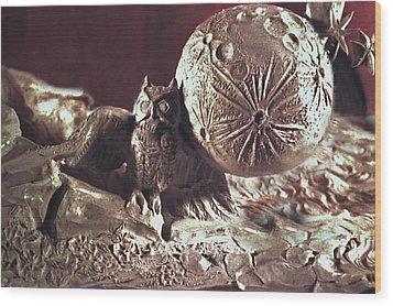 Moonhorse Detail Owl And Moon Wood Print by Dawn Senior-Trask