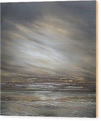 Moonlight And  Driftwood Series Druridge Bay Wood Print by Mike   Bell