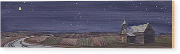 Wood Print featuring the painting Moonlight And School by Scott Kirby