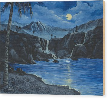 Wood Print featuring the painting Moonlight And Waterfalls by Darice Machel McGuire