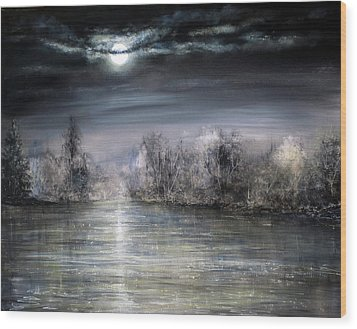 Moonlight Wood Print by Ann Marie Bone