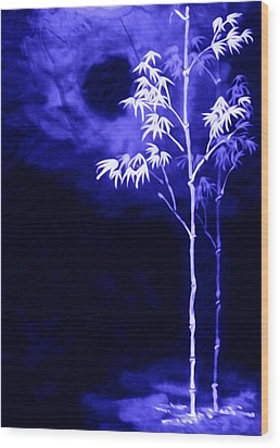 Wood Print featuring the painting Moonlight Bamboo by Lanjee Chee