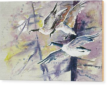 Moonlight Canadian Geese Wood Print by Connie Williams