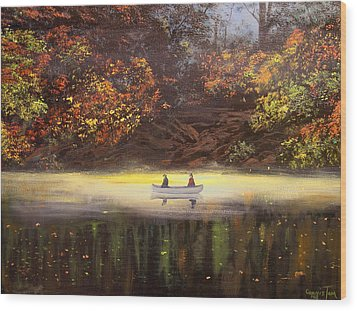 Moonlight Canoeing Wood Print by Connie Tom