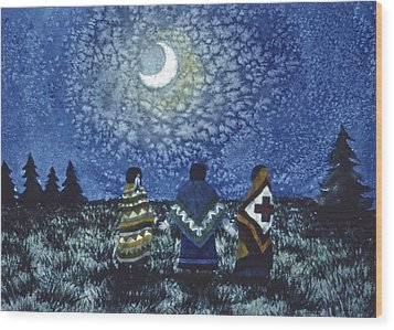 Moonlight Counsel Wood Print by Lynda Hoffman-Snodgrass