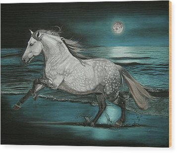 Moonlight Dancer Wood Print by Sabine Lackner