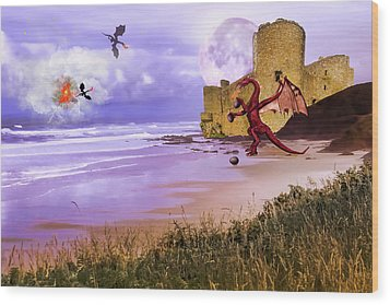 Moonlight Dragon Attack Wood Print by Diane Schuster