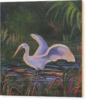 Moonlight Egret Wood Print