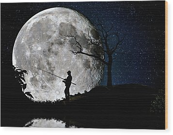 Moonlight Fishing Under The Supermoon At Night Wood Print by Justin Kelefas