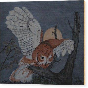 Moonlight Flight Wood Print by Sandra Maddox