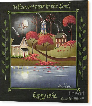 Moonlight In Cottage Grove Wood Print by Catherine Holman