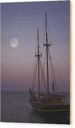 Moonlight In The Med Wood Print by Mark H Roberts