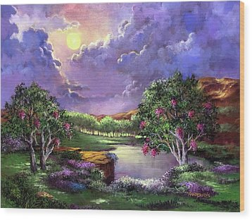 Moonlight In The Woods Wood Print by Randy Burns