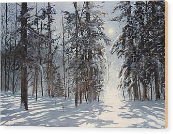 moonlight in Vermont Wood Print by Ken Ahlering