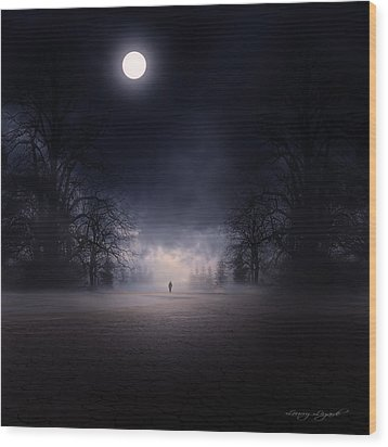 Moonlight Journey Wood Print by Lourry Legarde