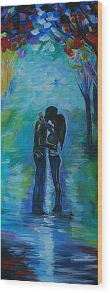 Wood Print featuring the painting Moonlight Kiss Series 1 by Leslie Allen