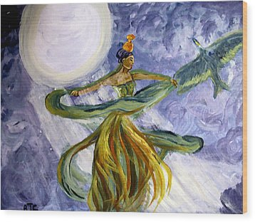 Moonlight Majesty Wood Print by Barbara Giordano