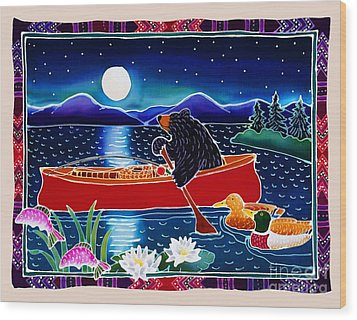 Moonlight On A Red Canoe Wood Print