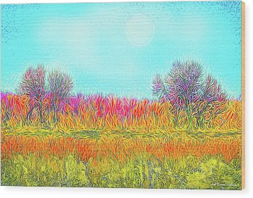 Wood Print featuring the digital art Moonlight On Golden Fields - Boulder County Colorado by Joel Bruce Wallach