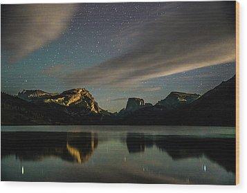 Moonlight On Green River Lake Wood Print