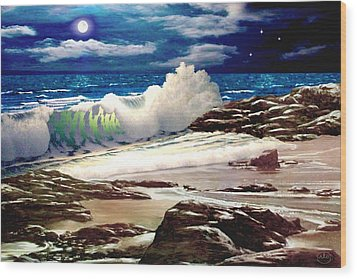 Moonlight On The Beach Wood Print by Ron Chambers