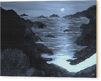 Moonlight On The Coast Wood Print by Sherri's Of Palm Springs