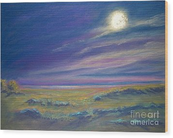 Moonlight On The Dunes Wood Print by Addie Hocynec