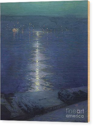 Moonlight On The River Wood Print by Lowell Birge Harrison