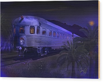 Moonlight On The Sante Fe Chief Wood Print by J Griff Griffin