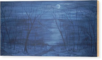Moonlight On The Water Wood Print by Nora Niles