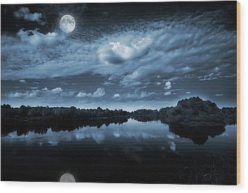 Moonlight Over A Lake Wood Print by Jaroslaw Grudzinski