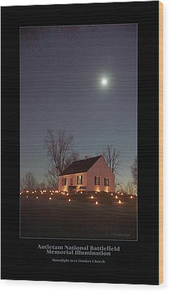 Moonlight Over Dunker Church 96 Wood Print by Judi Quelland