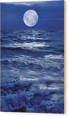Moonlight Over The Ocean Wood Print